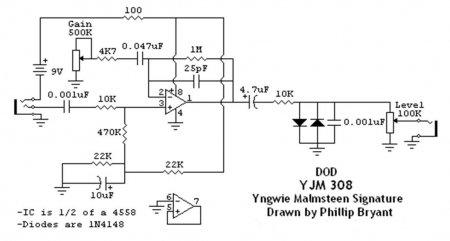 Preamp Overdrive DOD YJM308_схема