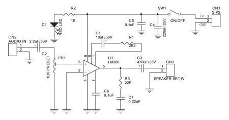 Принципиальная схема УНЧ на LM386