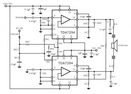 Принципиальная схема мостового усилителя на TDA7294