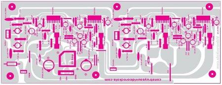 Исходник печатной платы_TDA7294_расположение элементов