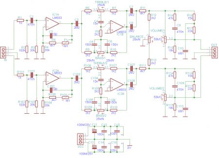 Принципиальная схема предварительного усилителя на LM833