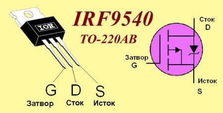 Цоколевка транзистора IRF9540