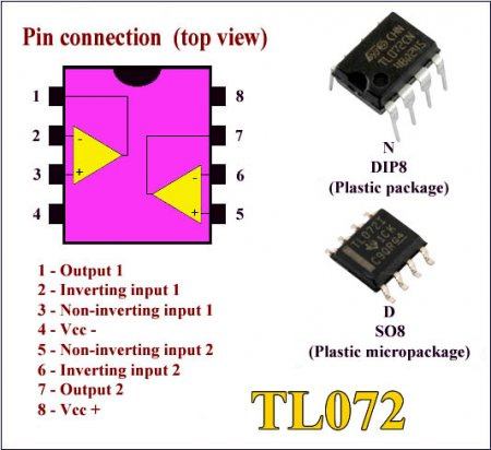 TL072_pin connection