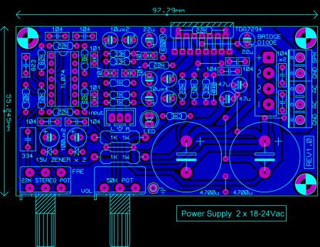Исходник печатной платы TDA7294_amp for sub_расположение элементов