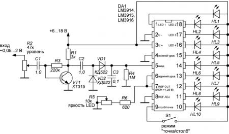 Схема индикатора уровня сигнала на LM3914