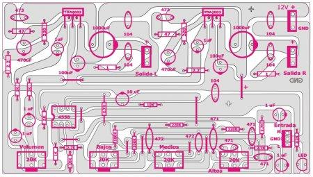 Исходник печатной платы усилителя на TDA2003&JRC4558_размещение компонентов