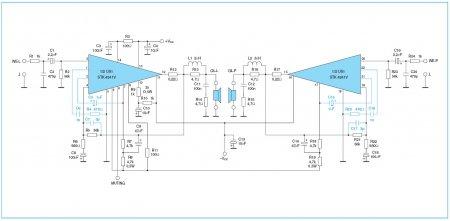 Принципиальная схема усилителя на STK4241V