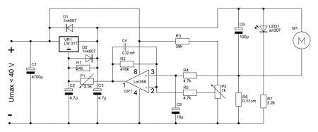 LM358_автоматический регулятор оборотов_схема