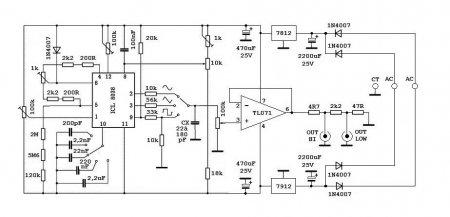Схема генератора сигналов на ICL8038_TL071