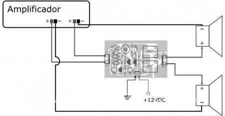 Схема подключения блока защиты и акустики к усилителю