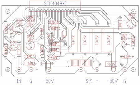 Расположение элементов на плате усилителя на STK40488XI-150W