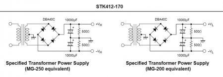 Блок питания усилителя на STK142-170 из Datasheet