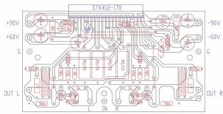Расположение элементов на плате усилителя на STK412-170_180W_Class H