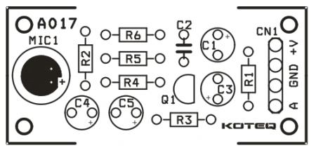 Расположение элементов на плате микрофонного преампа