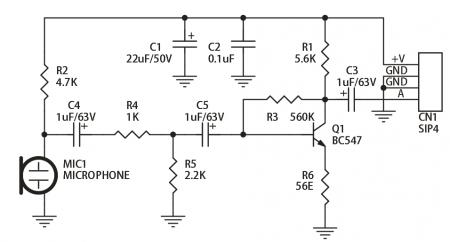 Схема микрофонного предварительного усилителя на BC547