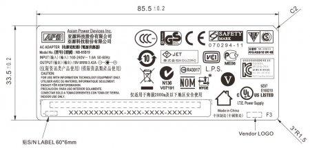 Размеры и надписи на корпусе адаптера NB_65B19