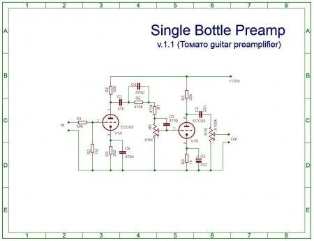 Схема преампа на одной лампе ECC83