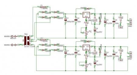 Схема блока питания DUAL 9V