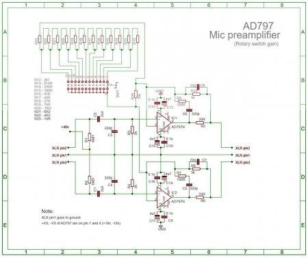 Схема микрофонного предусилителя с галетным регулятором GAIN