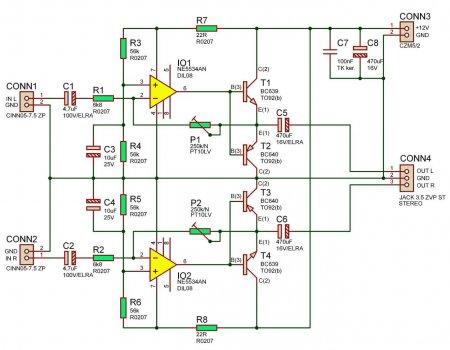Схема усилителя для наушников на NE5534AN