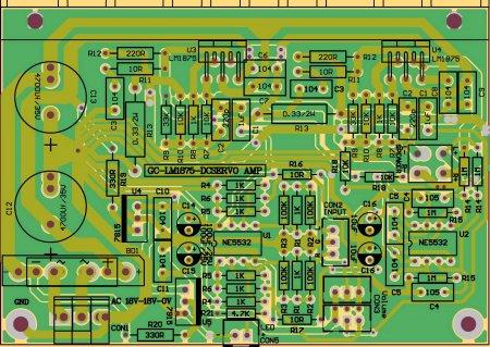 LM1875-DCSERVO-расположение элементов на плате