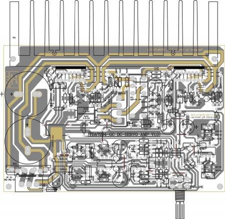 Расположение элементов на плате усилителя TDA7294BSRV