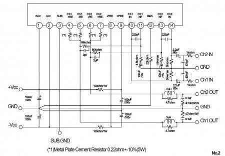 Принципиальная схема усилителя на STK442-090