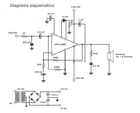 принципиальная схема усилителя на UPC1188H