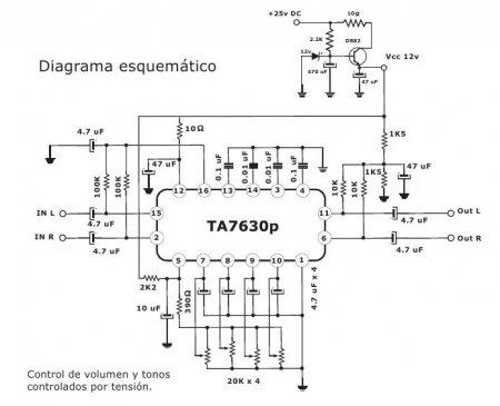 Схема регулятора тембра на TA7630P