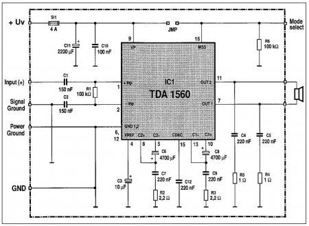 Схема усилителя на TDA1560Q