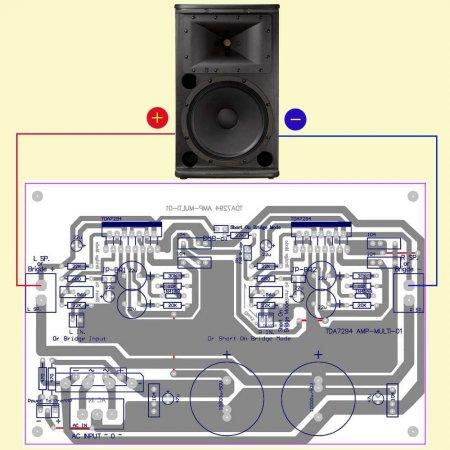 Усилитель TDA7294 MULTI - 01_подключение акустики в режиме мост