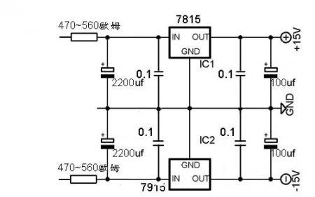 Схема блока питания предварительного усилителя на 7815+7915