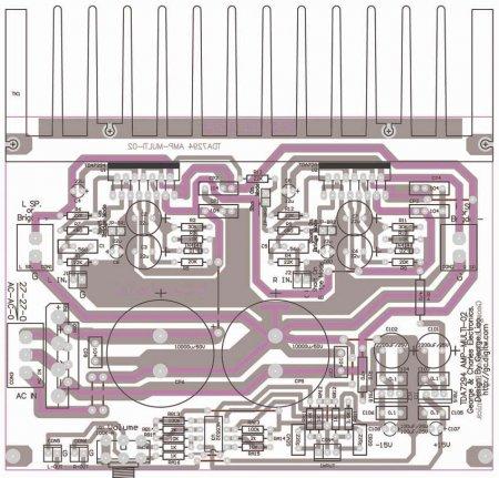 Исходник печатной платы  TDA7294-AMP-MULTI V2.0 PA_расположение элементов