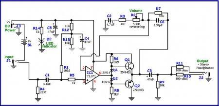 Схема MXR Headphone Amp
