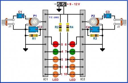 Наглядная схема индикатора уровня сигнала на AN6884
