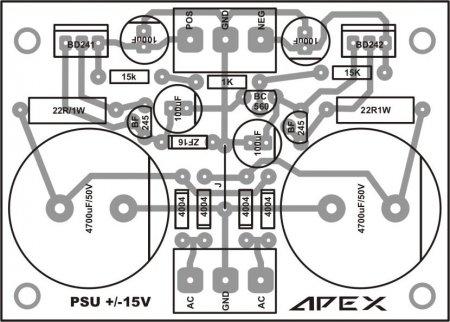 APEX 2x15V PSU плата_сторона элементов