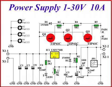 Схема блока питания на Lm317_10A