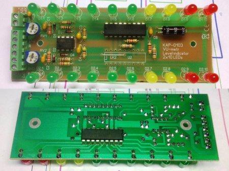 Плата индикатора уровня сигнала на LM39XX_LM358 в сборе