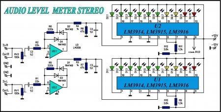 Схема индикатора уровня сигнала на LM39XX_LM358