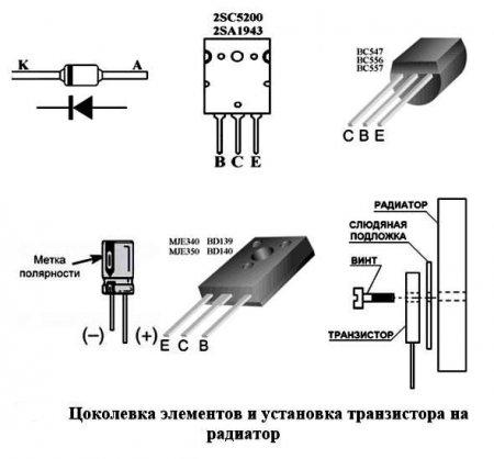 Цоколевка элементов и установка транзистора на радиатор