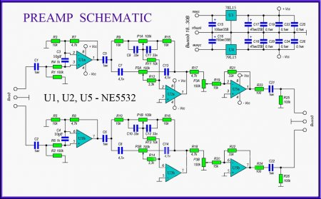 Схема предварительного усилителя на 3хNE5532-min