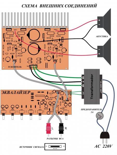 Эквалайзер на BA3822_внешние соединения
