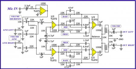 Схема предусилителя с микрофонным входом