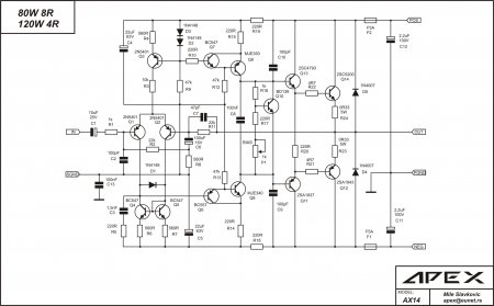 Схема усилителя APEX AX14