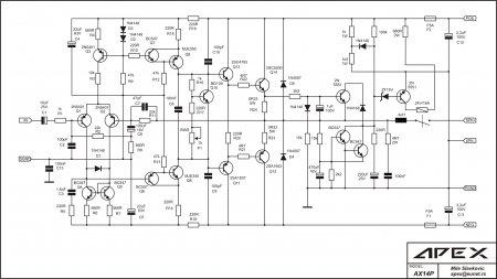 Принципиальная схема усилителя APEX AX14P