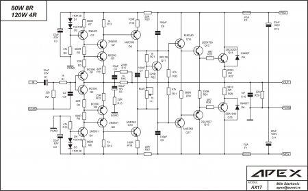 Схема усилителя APEX AX17_C61000uF16V