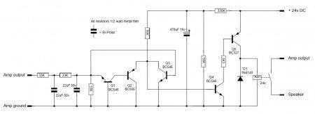 Принципиальная схема защиты акустики усилителя Nbip300