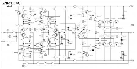 Принципиальная схема усилителя мощности APEX A40