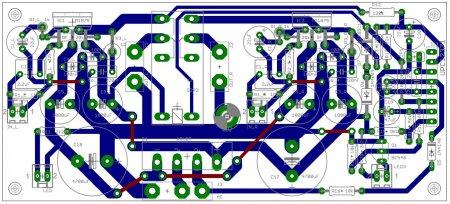 Расположение элементов на плате TDA2050