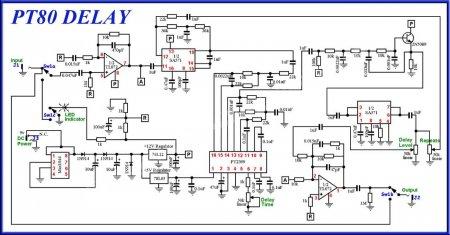 Принципиальная схема педали Delay PT-80